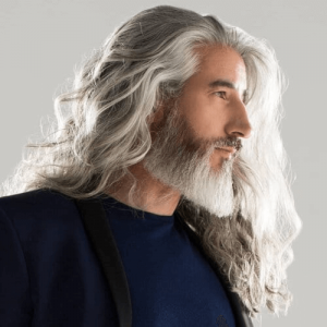 Flowing White Locks with Straight Cut Pointy Beard
